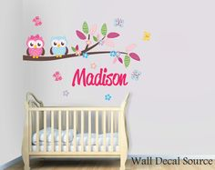 Girls Wall Decal With Name - Branch With Owls Wall Decal