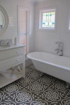 Laying Tile Floor In Bathroom . Laying Tile Floor In Bathroom . Definitely Copying these Tiles for Our Downstairs Bathroom Bathroom Floor Tiles, Bathroom Renos, Bathroom Ideas, Bathroom Vinyl, Concrete Bathroom, Mosaic Bathroom, Basement Bathroom, Kitchen Tiles, Master Bathroom