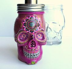 Painted Skull: Hand painted glass Skull shaped by PearlesPainting