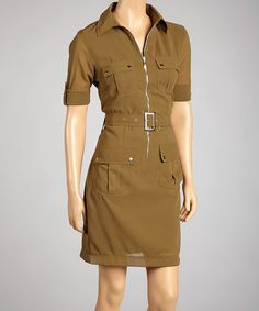 Look at this #zulilyfind! Green Zip-Up Roll-Tab Sleeve Dress - Women #zulilyfinds