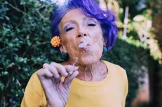 "(@gbrandaomakeup) no Instagram: ""- Badass Grandma - Attitude has no age limit beauty/ photo (and grandma) by me. #purplehair…"""