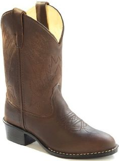 Kids Leather Cowboy Boots in Corona Calf Brown (9) Old West. $49.99