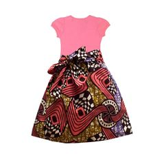 Abina African Print Full Skirt for Little Girls (Pink/Brown/Gold) – D'IYANU