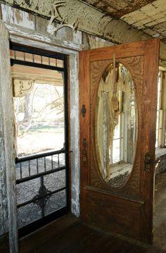 "Vintage porch screen door on the main house at ""Magnolia Pearl Ranch"", Bandera, Texas Screen Doors For Sale, Front Door With Screen, Vintage Screen Doors, Old Screen Doors, Vintage Doors, Glass Front Door, Old Doors, Glass Doors, Antique Doors"