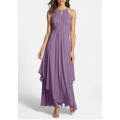 $16.94 Elegant Round Neck Solid Color Hollow Irregular Hem Sleeveless Maxi Dress For Women