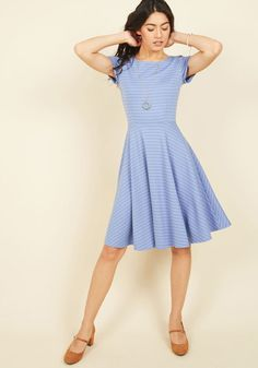 Compiling lists of swingin' tunes is your vocation, and in this blue dress - a ModCloth exclusive - you create an audio-visual experience like no other. Darted at the bust and striped with classic white lines, this ponte knit frock is superbly cool - a great thing, because your track sequence is so hot!