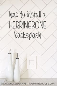 I love the idea of a herringbone tile backsplash.How to DIY a white herringbone kitchen backsplash. Diy Kitchen Decor, Kitchen Redo, Kitchen Backsplash, Kitchen Remodel, Kitchen Design, Home Decor, Backsplash Ideas, Kitchen Ideas, Splashback Tiles