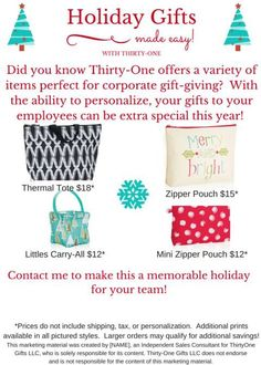 Thirty One Gifts Holiday 2015 https://www.mythirtyone.com/TLDunson/shop/Consultant/AboutMe