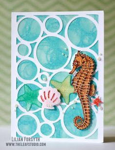 The Leaf Studio: French Dies {Fri}: Seahorse Bubbles Card with Artfully Sent CTMH Cricut catridge