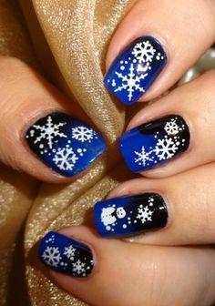 Sparkly Nails - Snowfall Water Decals #bluemani #snowflakes #nailart #nails bellashoot.com