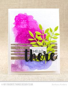 Handmade card from Barbara Anders featuring the Forest Friends stamp set, Hello There, Bold Greenery, and Blueprints 29 Die-namics #mftstamps