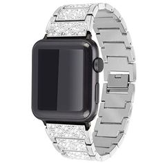 Moretek iWatch Silver Stainless Steel Metal Replacement Bracelet Classic Band for Apple Watch Strap Series 2 Series 1 (Silver Diamond Stainless Steel Metal, Stainless Steel Bracelet, Apple Watch Accessories, Wearable Technology, Apple Products, Silver Diamonds, Apple Watch Bands, Watches, Bracelets