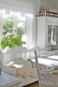 love the light, the inside greenery, the cosy sheepskin, and a nice big practical table - good workspace Swedish Cottage, Swedish Decor, Swedish House, White Cottage, Shabby Home, Shabby Cottage, Shabby Chic, Cosy Interior, Interior Design