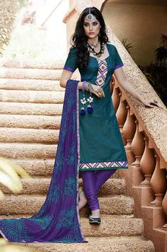 USD 27.55 Turquoise Cotton Churidar Suit 47565