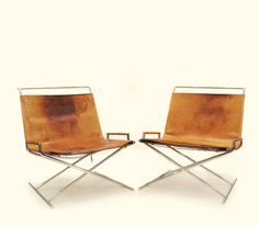 Sled Chairs, Leather, Chromed Solid Tubular Steel Brickell, Ward Bennett, 1968.