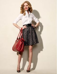 Love this classic white #shirt with a full #skirt look over at #thelimited. #fashion