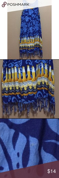 """Corona Beer MuuMuu Swim Cover Up Dress Perfect for the beach. Good condition. Fridge is matted. Small pin hole in back. See pic. Same corona graphic wraps around front to back. No tag size. Looks to fit S/M.  Measurements: dress with fringe is 39"""". Chest 19.5"""". Arm Opening 10.5"""" Corona Swim Coverups"""