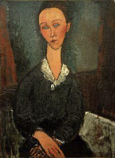 2-M145-A2-1917-52 (992113) 'Frau mit weißem Kragen (Lunia Czechowska)' Modigliani, Amedeo; 1884-1920. 'Frau mit weißem Kragen (Lunia Czechowska)', 1917/18. Öl auf Leinwand, 81 x 60,2 cm. Grenoble, Musée de Grenoble. MONDADORI PORTFOLIO/AKG Images