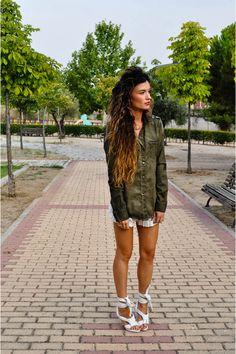 green Zara shirt - white loewe shoes - white Las Dalias hippie market shorts
