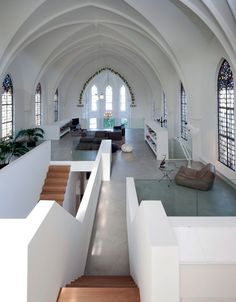 Like other cool church conversions from Zecc (photos by Frank Hanswijk), this small-church renovation in Utrecht features a series of levels within the existing large space.