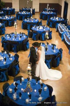 Bella Package Dinner Reception Royal Blue & Black Bella Sera Denver We Wedding Centerpieces, Wedding Table, Wedding Reception, Our Wedding, Dream Wedding, Black Wedding Themes, Wedding Colors, Royal Blue Wedding Decorations, Royal Blue Weddings