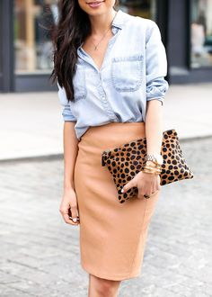 Light blue denim jacket, peach midi pencil skirt, leopard purse. Street spring women fashion outfit clothing style apparel @roressclothes closet ideas