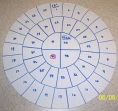 """12"""" round - Slicing guide for 44 slices. 1 1/2"""" x 2"""""""