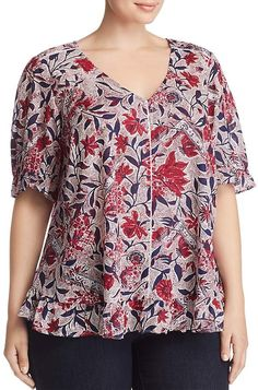 Lucky Brand Plus Floral-Print Ruffle Top Women - Plus - Bloomingdale's Plus Size Blouses, Plus Size Tops, Plus Size Dresses, Blouse Patterns, Clothing Patterns, Underwear Pattern, Sewing Blouses, African Fashion Dresses, Blouse Styles