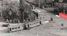 """German situational snapshot """"Libeň turn"""" in Prague which was created during the reconstruction. Heydrich's Mercedes is on the left of the picture. In front of it is the tram No. and red is recently drawn tram No. Catholic Priest, The Third Reich, Lest We Forget, Paratrooper, Old Paintings, Historian, More Pictures, World War Two, Prague"""