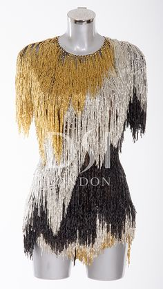 Black, Gold and Silver Latin Dress as worn by Iveta Lukasiute on Strictly Come Dancing 2014. Designed by Vicky Gill and produced by DSI London