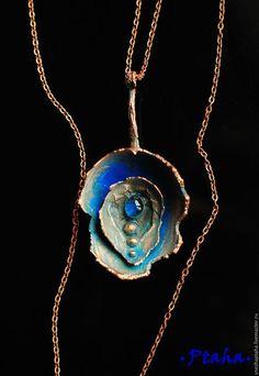 """Copper pendant / Кулоны, подвески ручной работы. Ярмарка Мастеров - ручная работа. Купить кулон """"Круги на воде"""". Handmade. Синий, медные украшения"""