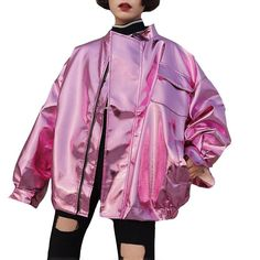 Coats For Women, Jackets For Women, Clothes For Women, Silver Bomber Jacket, Cool Coats, Batwing Sleeve, Retro Jackets, Autumn Fashion, Street Wear