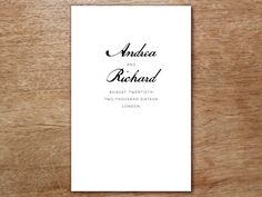A Black And White Calligraphy Style Wedding Program Template To Print Your Own