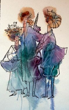 Water color and line Watercolor Mixing, Watercolor And Ink, Pen And Wash, Sketches Of People, Ink Pen Drawings, Painting People, Urban Sketching, Photo Art, Moose Art