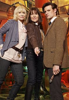 Elisabeth Sladen with Katy Manning as Jo Grant and Matt Smith as the Doctor.