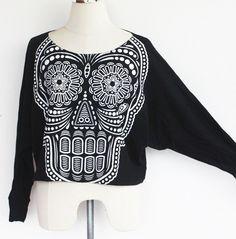 Skull sweatshirt,Skull sweater,Skull Printed  on Pullover Oversize style Bat Style Half Body In Black. $23.99, via Etsy.