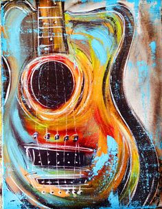 This Guitar Art is a great new funky addition to any home! It is hand painted by artist Sheila Smith, and each piece will slightly change in appearance, giving the individual a truly unique piece. Painted with acrylic paint, over 1/2 depth stretched canvas, this item comes ready to hang and is signed by the artist in the lower right hand corner, and on back of the canvas. Each piece comes with a top protective gloss coat of varnish, and is hand wrapped for safe travels to its new home.