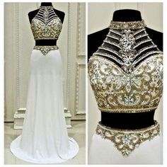 Sexy Prom Dress,Prom Dress,Prom Dresses,Sexy Dress,Charming Prom Dress,White Formal Dress,2 pieces Prom Gown For Teens