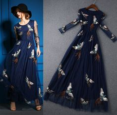 HIGH QUALITY  Fashion Runway Maxi Dress Women's Long Sleeve Noble Luxurious Embroidery Long Dress Formal Dress alishoppbrasil