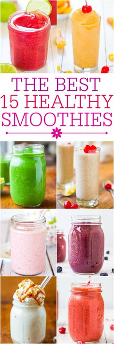 } The Best 15 Healthy Smoothies - Fast, easy, and tasty smoothie recipes that'll keep you full and satisfied.The Best 15 Healthy Smoothies - Fast, easy, and tasty smoothie recipes that'll keep you full and satisfied. Yummy Smoothie Recipes, Smoothie Drinks, Healthy Smoothies, Yummy Drinks, Healthy Drinks, Healthy Snacks, Healthy Eating, Yummy Food, Healthy Recipes