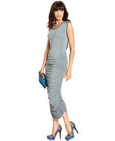 RACHEL Rachel Roy Dress, The Serena Sleeveless Scoop-Neck Keyhole Ruched Maxi - Womens - Macy's