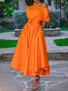 African Fashion Half Sleeve Mid-Calf Plain Womens Maxi Dress - Look Fashion Elegant Maxi Dress, Elegant Dresses For Women, Summer Dresses For Women, Boho Dress, Dress Summer, Womens Swing Dress, Floryday Vestidos, Cheap Dresses Online, Discount Dresses