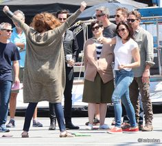 Lana & Rebecca playing around on set (July 17, 2015)
