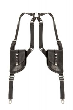"""Suspender holster bags with detachable leather bags, suspender clips, and """"O"""" ring harness detail on center back."""