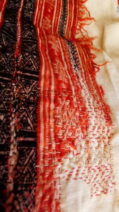 Stitch detail | Fragment of old Tunisian tapestry stitched on linen to slow deterioration