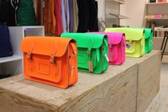 """The Cambridge Satchel Company has designed an exclusive collection of satchels called """"Fluo"""" for Dover Street Market. Cambridge Satchel, What's My Favorite Color, My Favorite Things, Wonderful Things, Beautiful Things, Neon Bag, Dover Street Market, Fashion Merchandising, Online Shopping"""