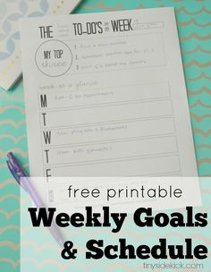 Free printable weekly goals and schedule:  Setting goals for myself to get those not so fun tasks done each week is a huge help! #printable #todolist #weeklygoals #organization