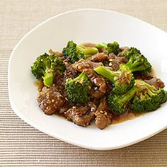 Beef & Broccoli Stir-Fry Recipe - In wok mix:2T cornstarch, 1/4 t salt, 3/4# sirloin, fry 4 mins. Remove from wok and cook 1/2 c. beef broth, 5 c. broccoli, 1T.water..Add 1/4 c. soysauce, 1/4 c. water, 2t. garlic, 1/2 t. cornstarch....mix together and serve over rice or noodles.....