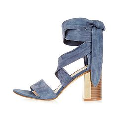 Blue suede wrap block mid heel sandals - Oh! Could be comfy.