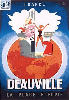 Affiche chemin de fer SNCF - Deauville